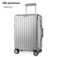 CARRYLOVE high quality High quality 100% aluminium spinner travel brand suitcase hand luggage trolley with wheel