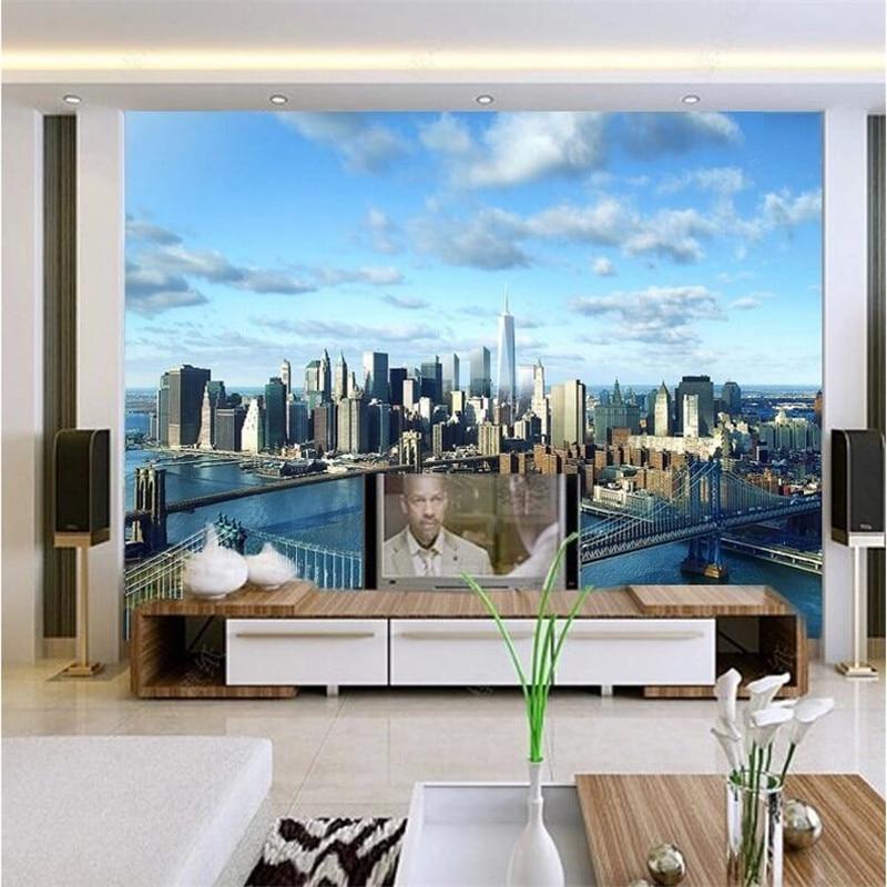 Beibehang 3d wallpaper new york world vision development for Modern quality homes