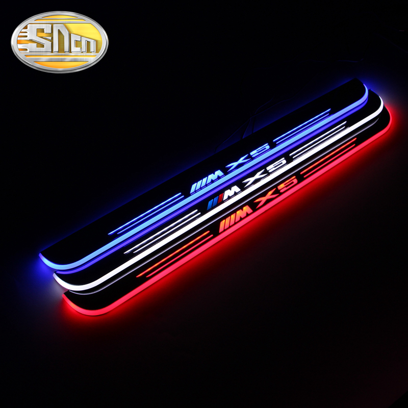 SNCN Waterproof Acrylic Moving LED Welcome Pedal Car Scuff Plate Pedal Door Sill Pathway Light For BMW X5 E70 2007 - 2012 cool custom made acrylic led welcome scuff plate pedal door sill cover sticker for 2012 2013 2014 opel mokka vauxhall