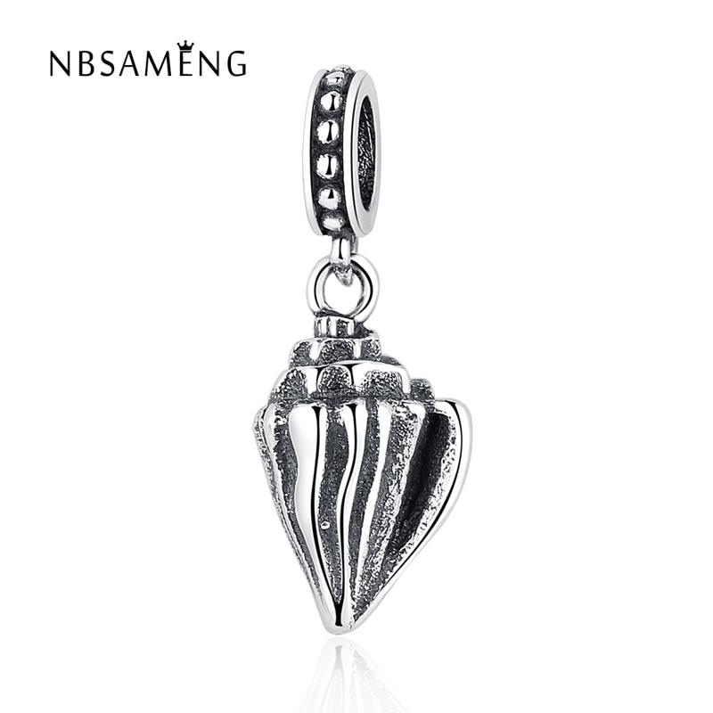 NBSAMENG Authentic 100% 925 Sterling Silver Bead Charm Delicate Conch Pendant Beads Fit Pandora Bracelets & Bangles Necklace