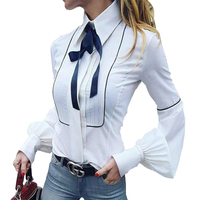 Bow Tie Blouses Women Lantern Sleeve Shirts Top Button White Shirts Female Elegant Office Top Sexy