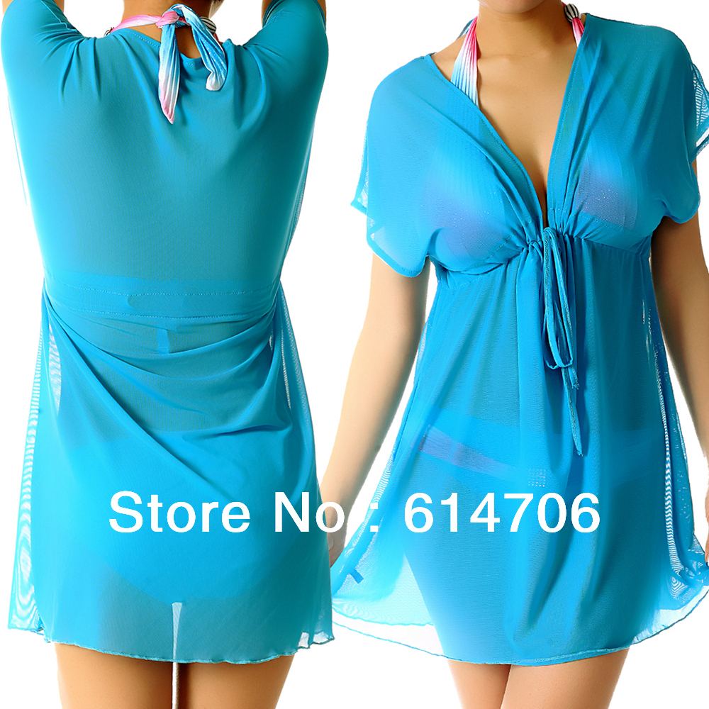 548c0bb7badfc 100% New Mesh Baby Doll Swimsuit Cover Up Tunic Solid beach tunic with  plunge V neck bikini swim dress CU01 on Aliexpress.com