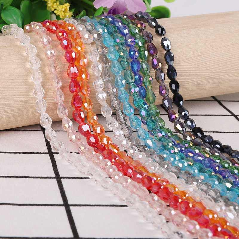New Fashion 100pcs/lot Colorful Water Drop Shape Crystal Beads Glass Beads for DIY Handmade Jewelry Accessories