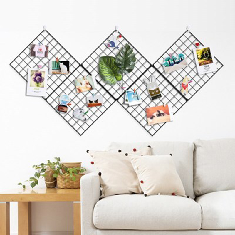 30x30cm Ins Style Metal Grid Wall Photos Grids Postcards Mesh Frame Home Bedroom DIY Decoration Iron Square Decorative Shelf 1PC
