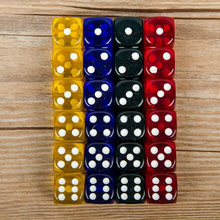 Set of 24pcs Dice 16mm Four-Color Transparent