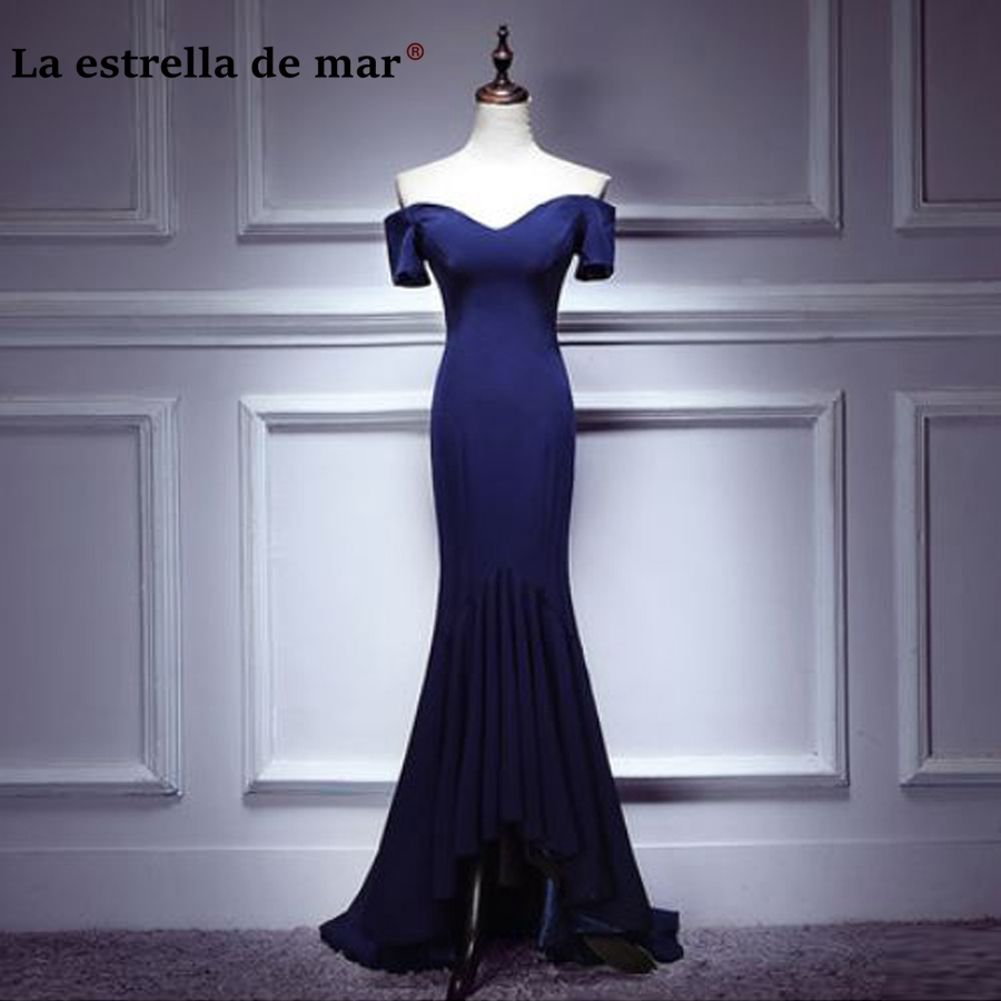 vesto de festa longo para casamento2018 New Satin Boat Neck Short Sleeve Sexy Mermaid Navy Blue   Bridesmaids     Dresses   Real Photos