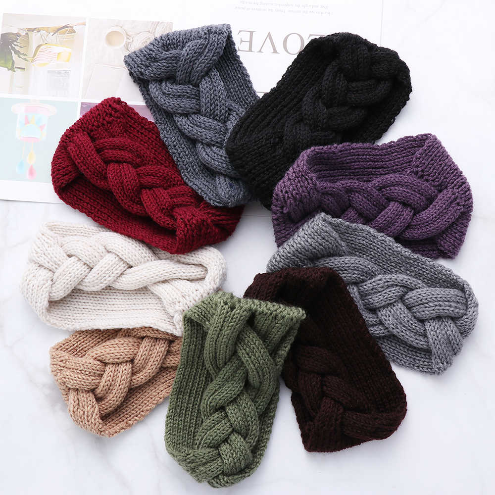 Winter Women Ear Warmer Braid Knitted Solid Headband Wide Stretch Turban Lady Crochet Big Bow Hairband Headwrap Hair Accessories