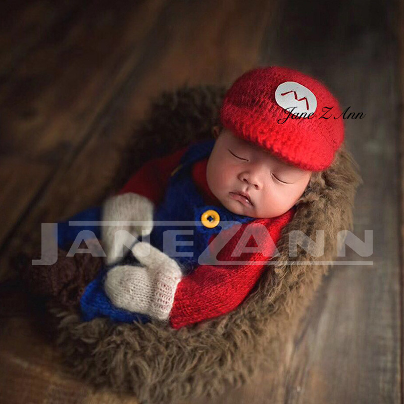 Jane Z Ann Newborn photography props baby photo cotton yarn handmade knitting super Mario clothes hat suit new 2018