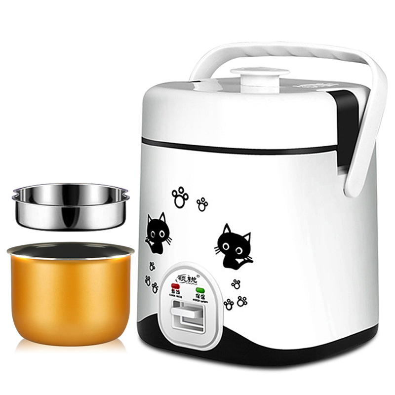 multi-purpose mini rice cookers 1-2 people heating small electric cookers home portable 110v 220v dual voltage travel cooker portable mini electric rice cooking machine hotel student multi stainless steel cookers