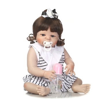 57cm Full Body Silicone Reborn Girl Baby Doll Toy Lifelike lol reborn bathe playmate handmade   kids birthday Xmas gifts