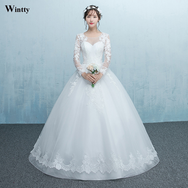 wintty New 2017 lace wedding dresses Ball back open high quality ...