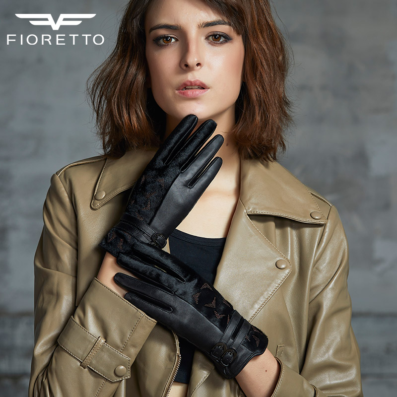 Female Gloves Winter Warm Sheep Leather Gloves Black Touch Screen Mittens For Woman 2018