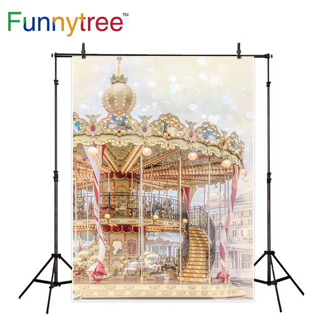 Funnytree photography background Carousel amusement park halo bokeh dream kids professional backdrop photocall photobooth