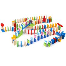 Baby wooden toys 150pcs wooden domino blocks Cognition early learn education chopping block childern table game gifts