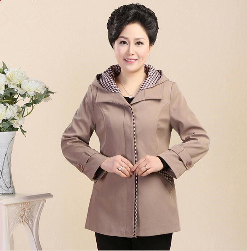 Removable Hood Women Jacket 2018 Spring Mother Jacket Middle-Aged Long Sleeve Coat Slim Plus Size Clothes Mother Gift w755