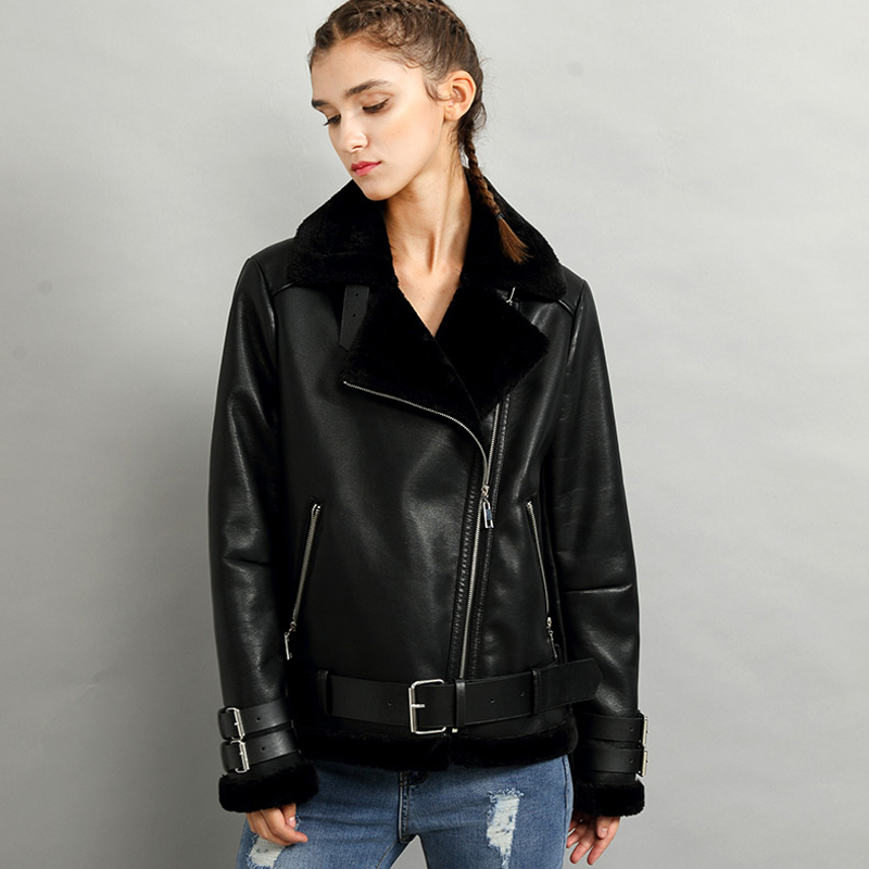 Biker Women Faux Fur Leather Coats Streetwear Thick Warm Flight Women Faux Sheepskin Leather Coats Winter Women Overcoats A309