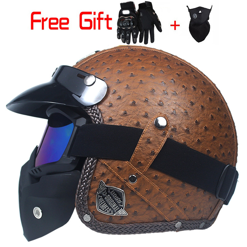 Vintage PU leather Helmets Mask Detachable Goggles And Mouth Filter Perfect for Open Face Motorcycle Half
