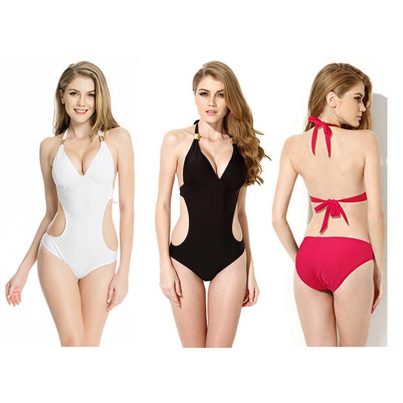 Badpakken voor Vrouwen Een Stuk Badpak Solid Meisjes Halter Badpak Sexy Mode Draad Gratis Zwemmen Slijtage Kopen Bikini 2019 Uk