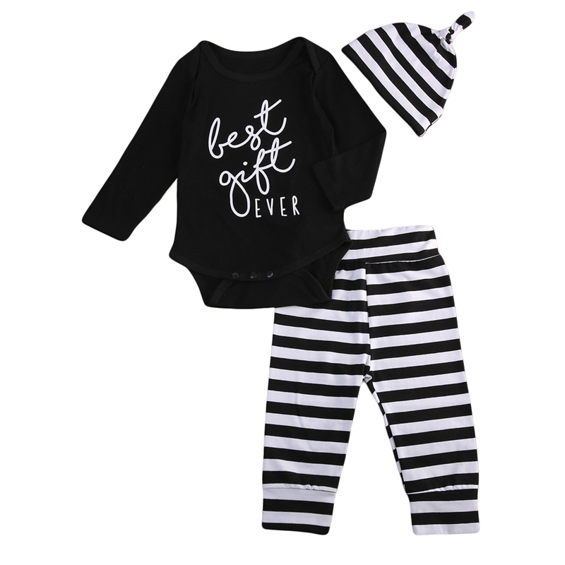 3PCS Set Baby Unisex Clothes 0-18M Newborn Baby Boy Girl Romper Tops+Striped Pants+Hat 2017 New Bebes Kids Clothing Set Outfits