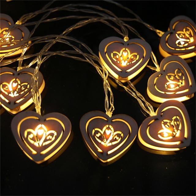 10 Led Yellow Heart Shape Window Curtain Lights String Lamp House Party Decor Striking Christmas Lights