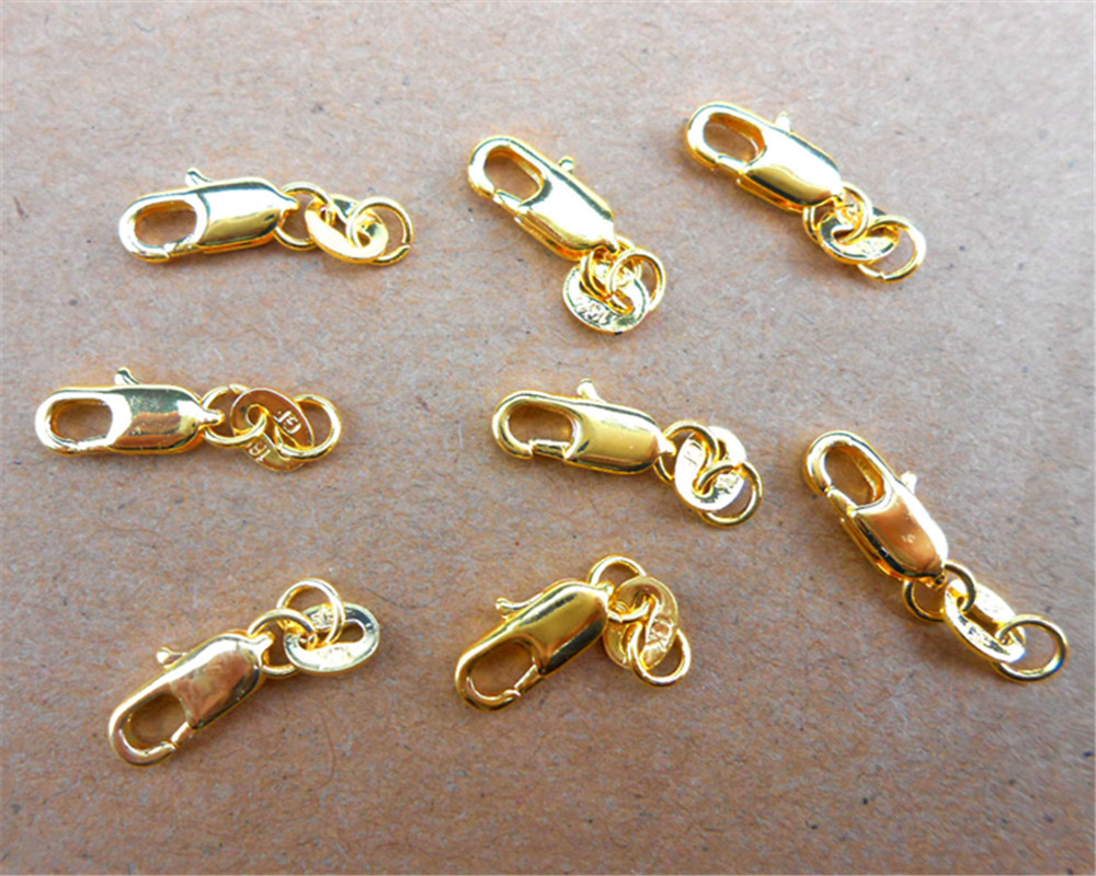 24Hours HOT 50Pcs 18KG Yellow Gold Filled Lobster Clasp GF Connecter Lin Jewelry Necklace Bracelet 18KGF Stamped Tag
