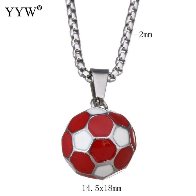 New football soccer pendants necklaces ball enamel jewelry sporty new football soccer pendants necklaces ball enamel jewelry sporty fashion silver color stainless steel chain men mozeypictures Image collections