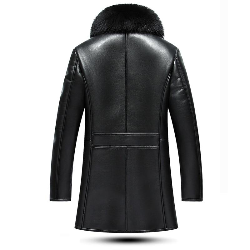 De À Velours Col D'affaires Pu marron Laine Chaud Vestes Doublure Hommes Épais Long En Manteaux Noir Renard D'hiver Fourrure Cuir Noir Moto odCthxBsQr