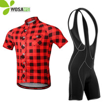 WOSAWE Summer Men Cycling Clothes Jersey Bib Shorts Uniform Sportswear Bicycles Plaid Shirt Kits Male Downhill MTB Bike Clothing