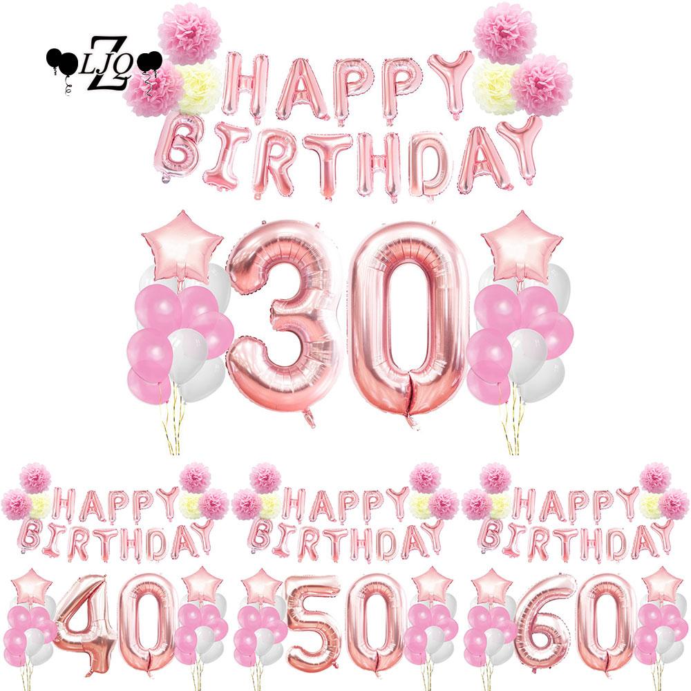 20pcs Birthday Decor Pink Tassels Heart Foil Balloon Girl Party ...