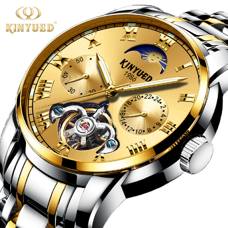 KINYUED Top Brand Mens Business Watches Automatic Skeleton Tourbillon Mechanical Watch Men Moon Phase Gold Dress montre homme KINYUED Top Brand Mens Business Watches Automatic Skeleton Tourbillon Mechanical Watch Men Moon Phase Gold Dress montre homme