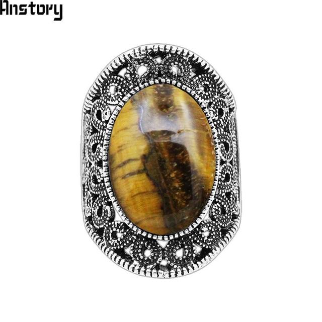 Oval Natural Tiger Eye Stone Rings For Women Vintage Flower Design Antique Silve