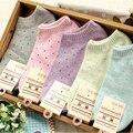 MOONBIFFY women's socks solid color love candy color dot sock women's thin sock slippers mix colors 2pcs=1pair/lot