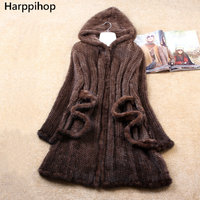 Winter Genuine Natural Knitted Mink Fur Coat Jacket Women Fur Trench Overcoat Hoody Outerwear Coats Plus Size 4XL 5XL