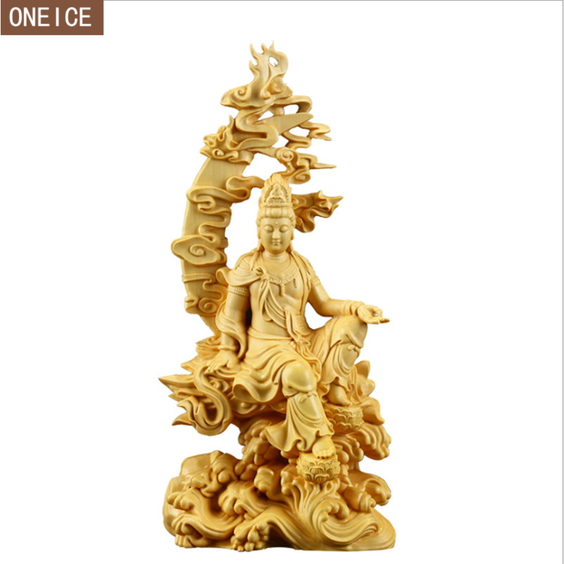 Solid wood Buddha sculpture hand carved home decoration accessories living room tabletop decoration crafts 18cm Buddha