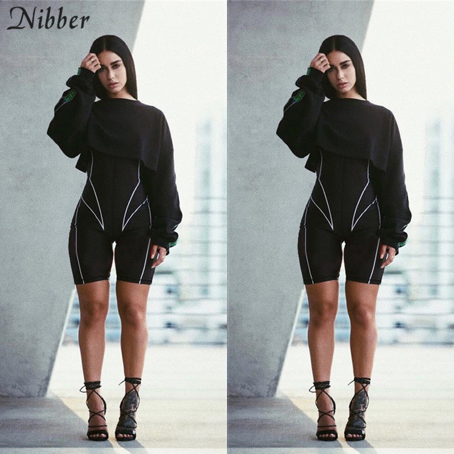 Nibber Autumn Hot Sale Neon Slim Soft Playsuits Active Wear Women Full Sleeve Jogging Active Wear2019letter Print Basic Playsuit