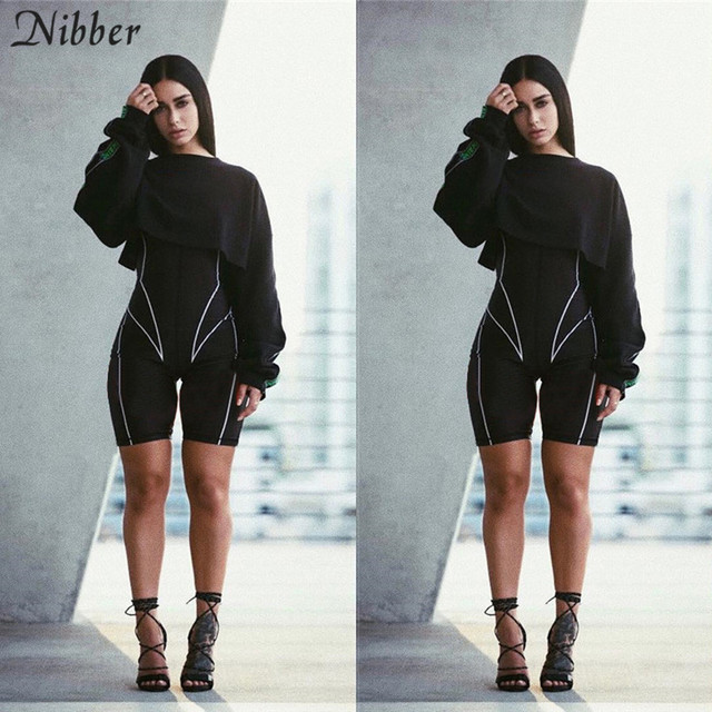 Nibber women turtleneck full sleeve fitness jumpsuit 2019 fashion striped patchwork letter print push up skinny casual bodysuit