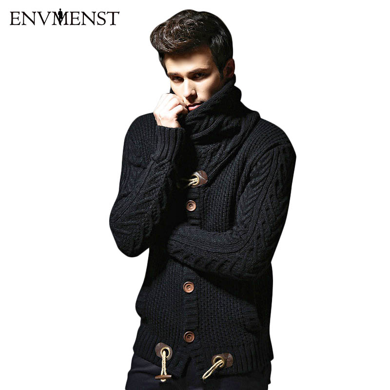 Envmenst 2017 Cardigan Mens Autumn Winter Sweater Casual Fashion Loose Solid Thick Acrylic Turtleneck Black Mens Sweaters Coats ...
