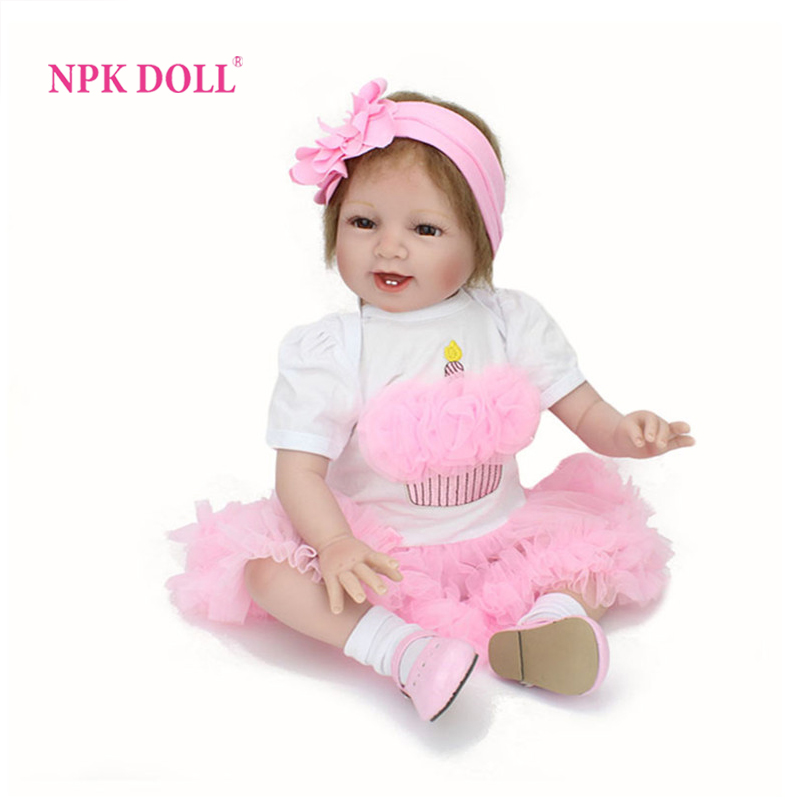 NPKDOLL 22 inch Silicone Reborn Babies Dolls Brinquedos Dolls For Girls Vinyl Realistic Doll Reborn Kids Christmas Gifts Toys