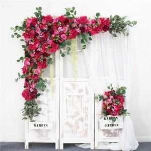 Image 4 - 1 סט 120cm 3D אירופאי סגנון DIY חתונה שלב דקור מלאכותי פרח קיר קשת משי עלה אדמונית צמחים עיצוב תפאורה פרח קיר