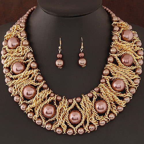 Fashion Gold Plated African Beads Jewelry Set