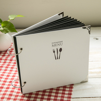 24*21.5CM Square 2 Holes Wire Binding Sticky Type White DIY Menu Knife And Fork Cover Black Card Polaroid Foto Album Restaurant
