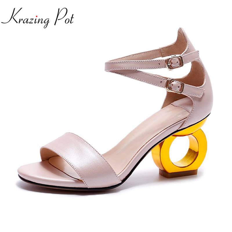 Krazing Pot genuine leather double ankle buckle strap pumps peep toe strange heel women sandals simple style fashion shoes L70 krazing pot new fashion brand shoes patent leather square toe preppy style low heel sweet ankle strap women pumps mary jane shoe