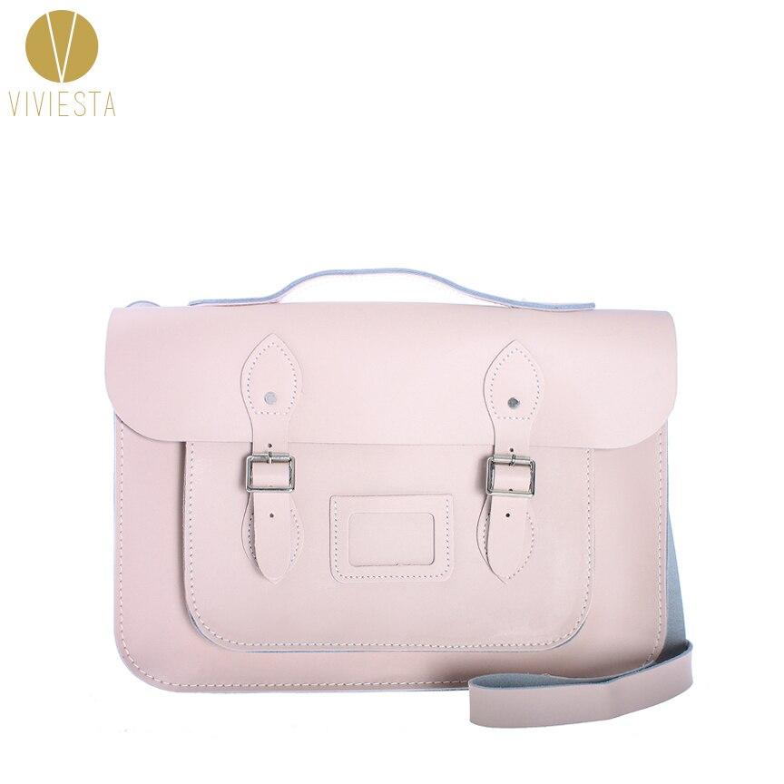 15 PASTEL BRITISH REAL GENUINE LEATHER SATCHEL BAG - Women Vintage Candy Baby Color College School Large Messenger Bag Handbag