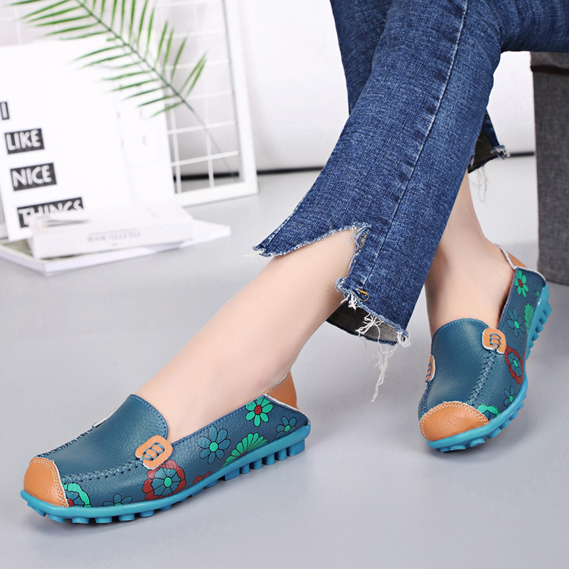 Women Shoes Flats Genuine   Leather   Loafers Fashion Moccasins Shoes Women Slip on Ballet Flats Printing Shoes 2019 New Arrivals 25