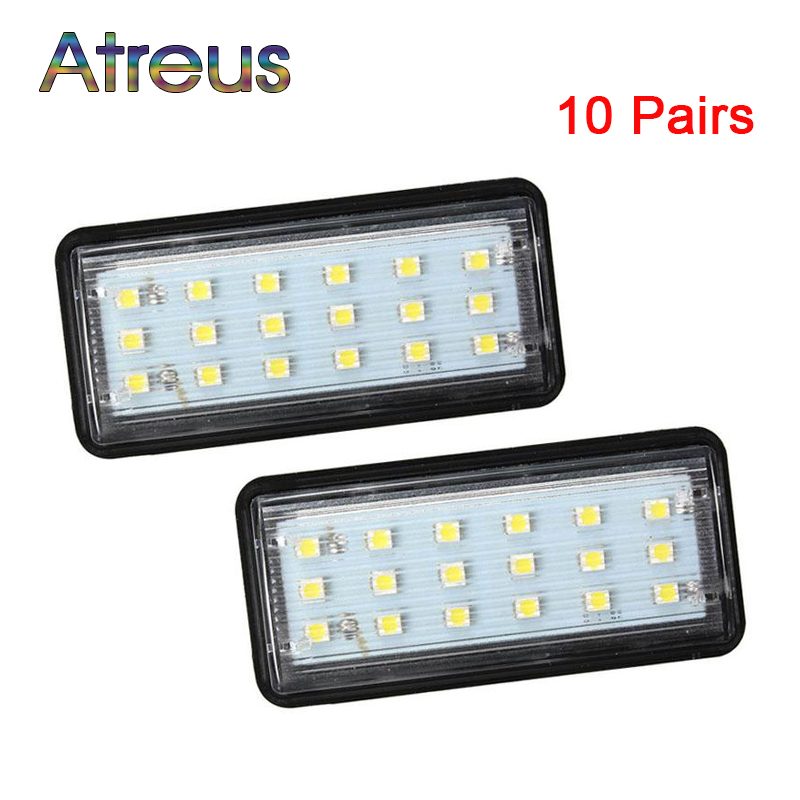 Atreus wholesale 20Pcs Car LED Number License Plate Lights 12V For Lexus LX470 LX570 For Toyota Land Cruiser Prado accessories