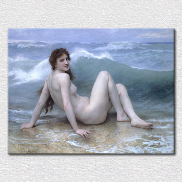 Canvas Prints Famous Classical sexy lady nude paintings , art picture of a Naked woman on the beach with smile free shipping