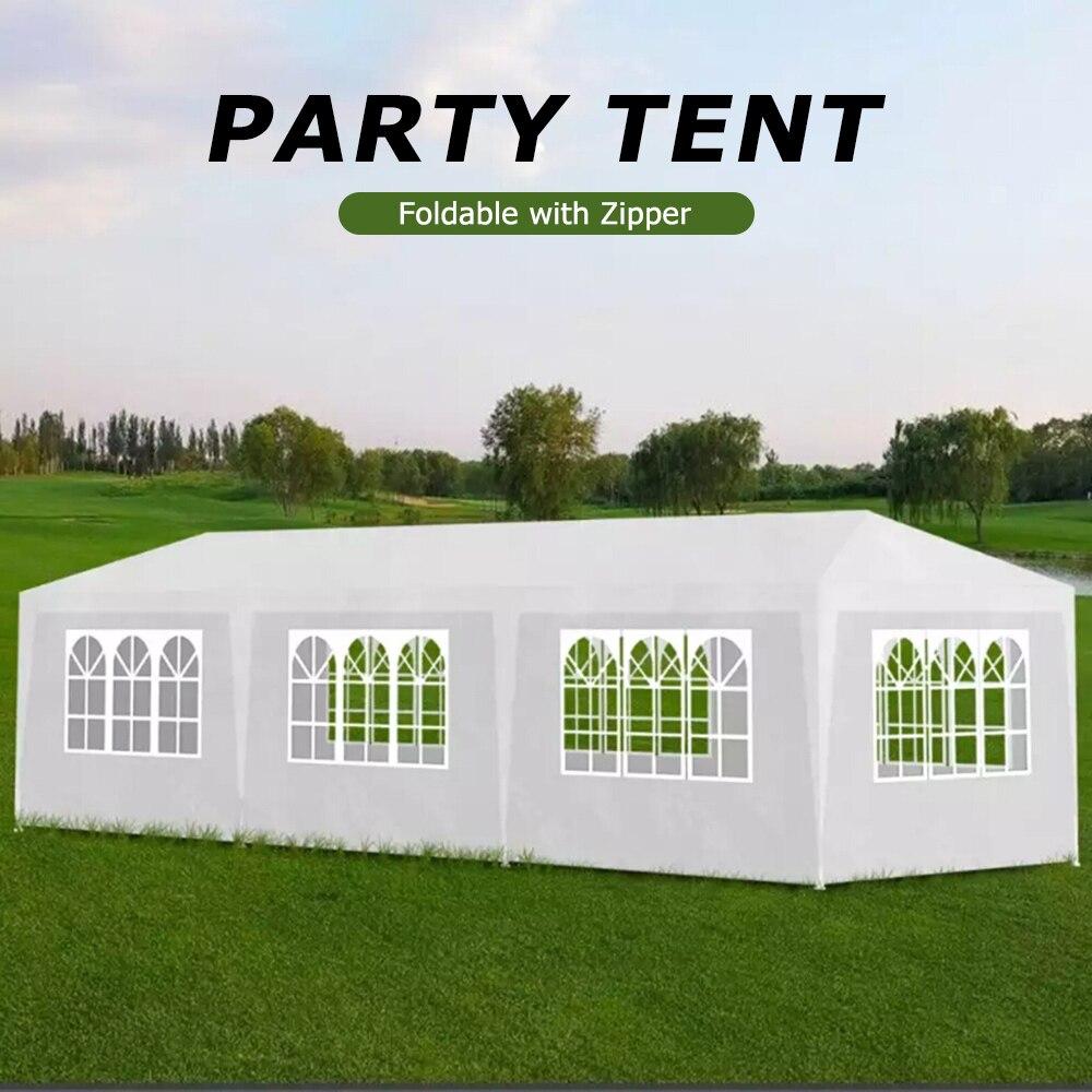 VidaXL tente de fête 3x9 m 8 mur blanc costume pour tout événement extérieur Camping fête BBQ résistant à la rouille imperméable grande tente familiale