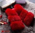 2017 New design autumn winter fox fur vest faux fur vest women jacket waistcoat outerwear short fur coat Christmas