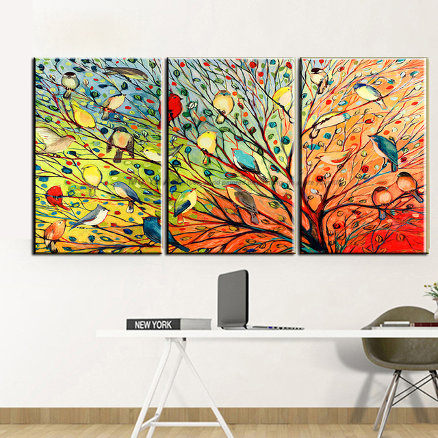 MUYA Beautiful Love Birds Painting Wall Mural Colorful Painting Modern Art  3 Panels Oil Canvas Paintings