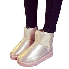 winter waterproof snow boots women platform warm plush ankle boots pu leather flat heel girls cotton school shoes